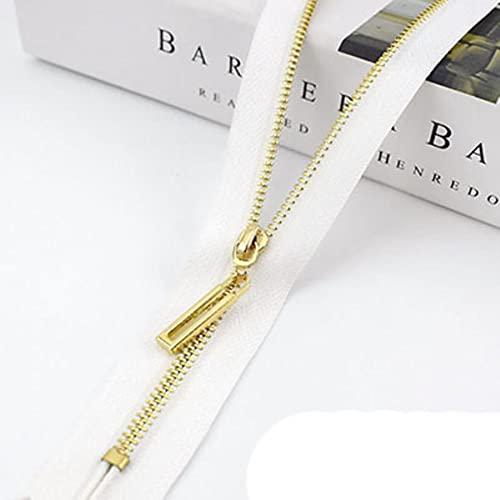 10/20pcs 20/30cm 3# Metal Zipper Close-End Auto Lock Zip Puller Head Decor DIY Bag Purse Garment Sewing Tailor Accessory-02-White,10pcs,30cm