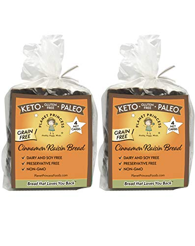 Planet Princess Low Carb Cinnamon Bread. Perfect Gluten Free Raisin Bread with 6g Protein and Only 4 Net Carbs. Clean Low Carb Bread for Keto. Grain-Free, Sugar-Free, Paleo, No-Preservatives (2 Pack)