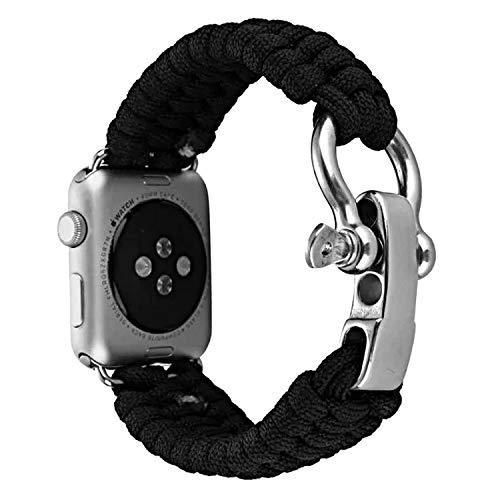 Survival Paracord Armband Qianyou Nylon Ersatzband kompatibel mit Apple Watch Series 4, 44 mm, schwarz