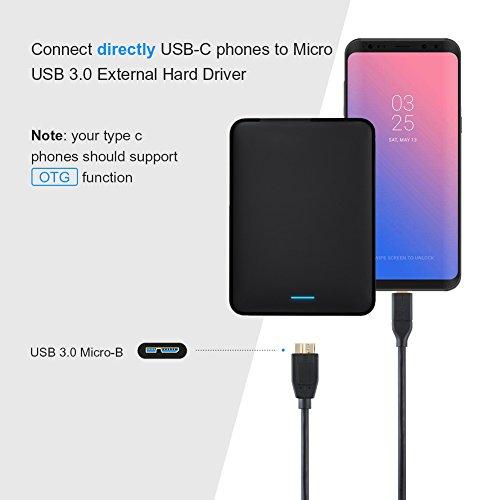 USB C auf Micro B 3.0, CableCreation USB 3.1 Typ C auf USB Micro-B 3.0 Kabel (Gen2/10Gbps), Externes USB 3.1-Festplattenkabel, Kompatibel mit MacBook (Pro), Chromebook Pixel, HDD usw, 0.3M / Schwarz