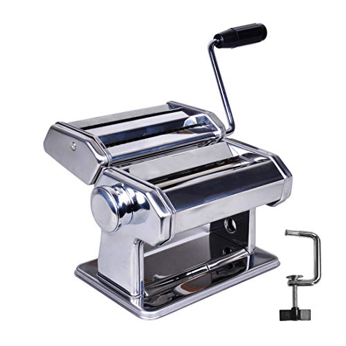 Hand Crank Pasta Maker Machine, Stainless Steel Manual Noodle Maker with 7 Adjustable Thickness and 2 Widths, 2 in 1 Pasta Roller and Cutter for Homemade Spaghetti, Linguine, Bigoli, Trenette