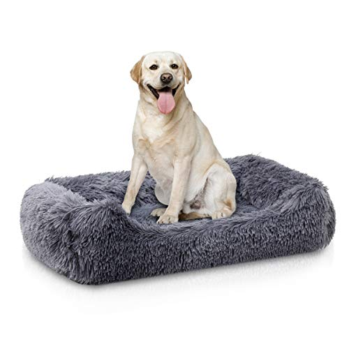 Muswanna Plush Pet Bed, Rectangle Bolster Pet Sofa,Soft Plush Lounge Cuddler pad, Shag Fuax Fur Kennel Cushion Improved Sleep,Anti-Slip Bottom with detachable Cover for Cats&Dogs-70cm(Dark Grey)