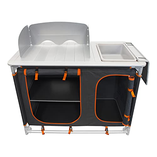 Milestone Camping Kitchen Units with Storage Compartments/Windshield and Cabinets/Heat Resistant Cooking Surface/Portable and Sturdy (Single Unit with Sink and 4 Compartments)