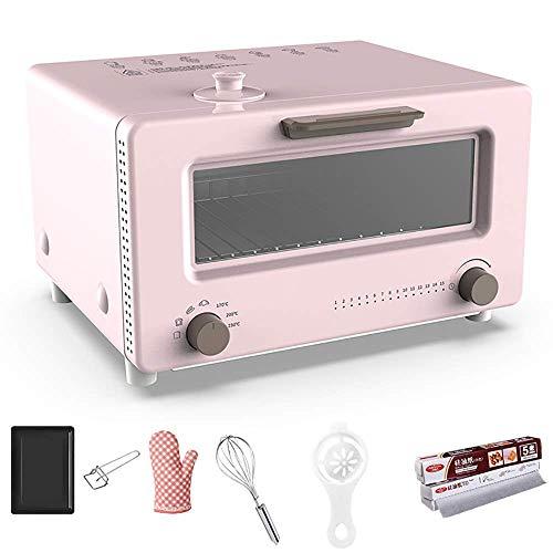 AFDK 10L Dampfgarer für sicheres Kochen, mit 6 Backzubehör, Toastofen mit Konvektion, Antihaft-Ölbeschichtung, pflegeleicht, Multi-Cooker, Pink-1300W,Rosa,1300W