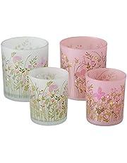 Juego de 4 portavelas con diseño de flores, color verde claro, blanco y rosa, de cristal mate, 8 cm de altura y 10 cm de altura, ideal como regalo