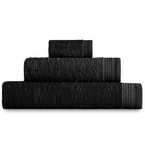 Eiffel Textile Juego de Toallas Calidad Rizo 600 gr, Algodón Egipcio 100%, Negro, Tocador Lavabo y Ducha, 3 Unidades