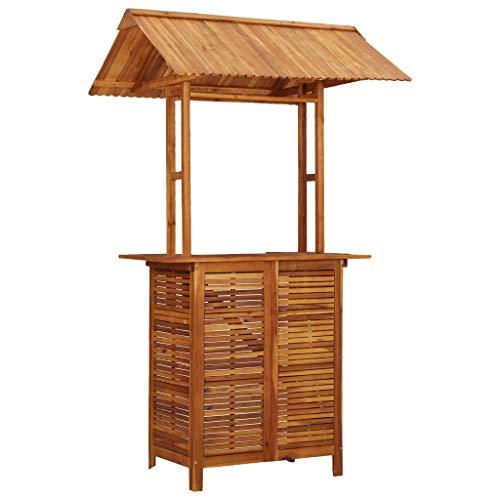 vidaXL Mesa de Bar Jardín con Tejado Madera Acacia Mobiliario Decoración Diseño Elegante Moderna Robusta Duradera Estable Práctica Útil 122x106x217cm