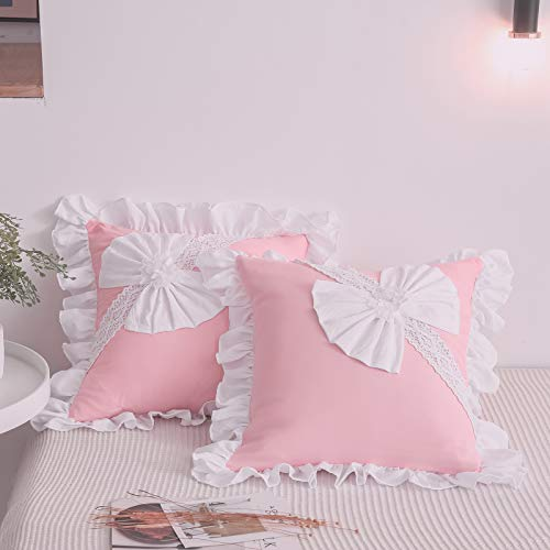 TEALP Decorative Square Throw Pillow Case Cushion Covers Pillowcases for Livingroom Sofa Bedroom with Invisible Zipper, 50cm x 50cm, 20x20 Inches, Pink