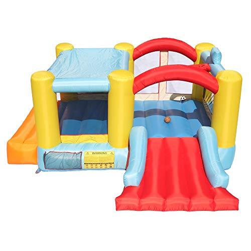 HSTD Casa Rebote Inflable, Gorila Y Tobogán Soplador Aire, Casa De Juegos con Piscina De Bolas, Tobogán Inflable para Niños