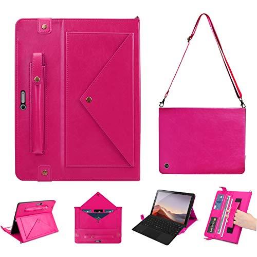 QGT Tablet Case for Microsoft Surface Pro 4/5 / 6/7 Envelope Horizontal Flip PU Leather Case with Card Slots & Pen Slots & Holder & Wallet & Photo Frame & Shoulder Strap (Color : Rose Red)