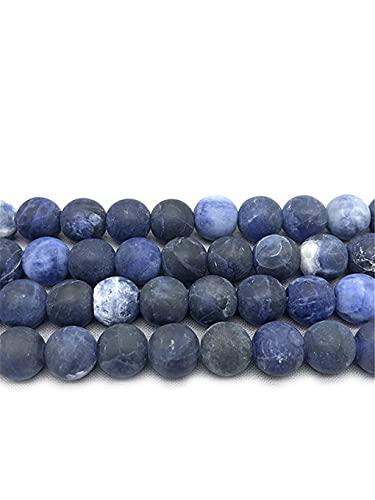 Perlas de piedra de sodalita azul mate mate para hacer joyas DIY pulsera accesorios 15 pulgadas 4/6/8/10/12 mm azul 10 mm aproximadamente 38 cuentas