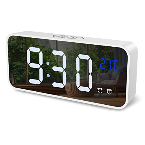 ORIA Digital Alarm Clock, Mirror LED Music Digital Clock, Voice Control, 4 Adjustable Brightness, Dual Alarms, Temperature, Snooze, USB Charging Port for Bedroom, Bedside, Office, Kids, Elderly