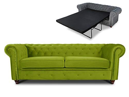Schlafsofa Chesterfield Asti Bis 3-Sitzer, Sofa mit Schlaffunktion, Couch 3-er, Couchgarnitur, Sofagarnitur, Holzfüße, Polstersofa (Hellgrün (Velvet 75))