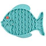 WZDTNL Alfombrilla de alimentación lenta para perro, gato, entrenador de alimentos para mascotas con forma de pez antideslizante para lamer alimentos para mascotas