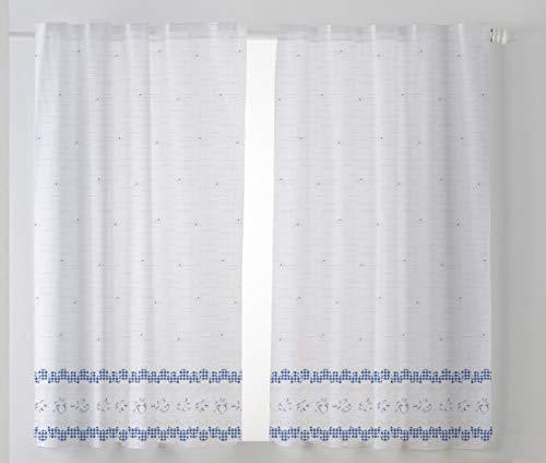 Cardenal Textil Tamara Cortina Cocina Visillo, Azul, Pack 2 100 x 140 cm