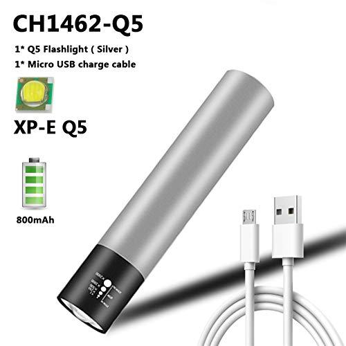 Linterna LED Recargable USB T6 Mini Torce LED BIUT-EN 18650 Batería 3 Modos Impermeable Lámpara de Luz Zoom Portátil para Acampar (Emitting Color : Q5 Silver Flashlight)