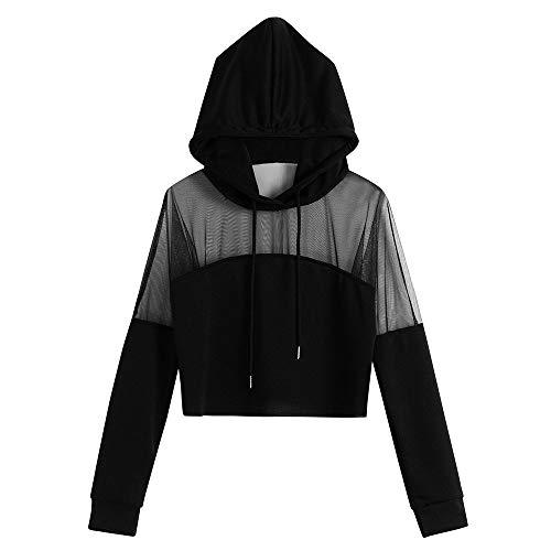 HIRIRI Women Long Sleeve Mesh Patchwork Workout Hooded Shirts Athletic Long Sleeve Running Crop Hoodie Sweatshirt Black