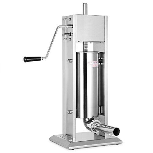 BuoQua 5 Liter Wurstfüllmaschine Manuell Gewerbe Wurstfüller mit Fülltrichter Edelstahl Wurstspritze für Salami Leberwurst usw.