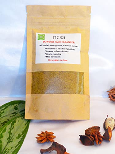 nesa Powder to foam face cleanser   50 Gms   Herbal Cleanser   For all skin types   Ayurvedic Ingredients   Healthy Skincare   Gentle Cleansing