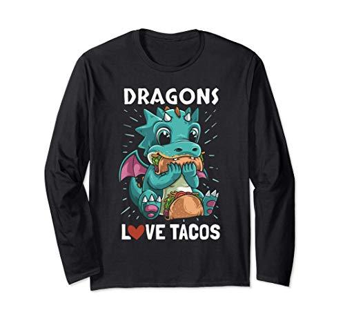 Dragons avec des ailes Tacos d'amour Dragon drôle de cadeau Manche Longue
