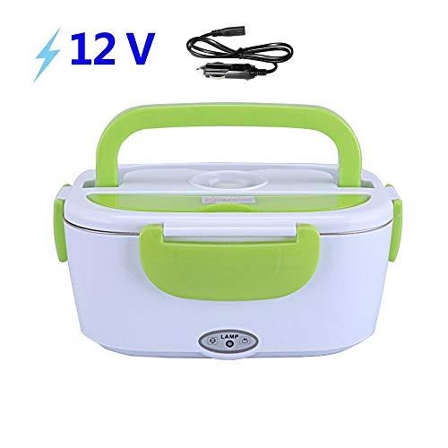 Umiwe Fiambrera Electrica para Coche Termo Comida 40W 12V con Dos Compartimentos y Cuchara Bandeja Extraíble de PP Portátil 1.2L