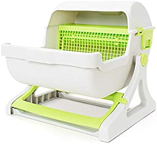 Extra Large Semi-Automatic Cat Toilet Self-Cleaning Litter Boxes (Green)