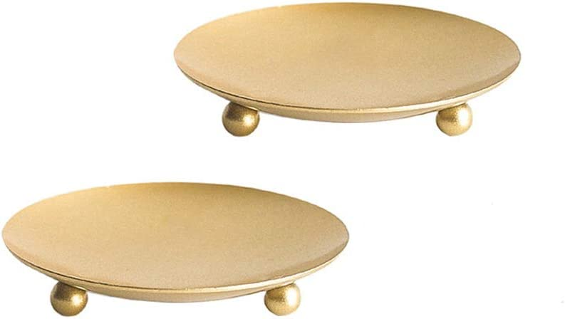 Cokritsm Iron Ranking TOP1 Candle Plates for Pillar Set Golden of 2 Candles f Brand Cheap Sale Venue