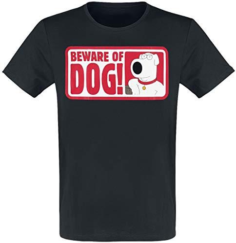 Family Guy Beware of Dog! Männer T-Shirt schwarz XXL 100% Baumwolle Fan-Merch, TV-Serien, Zeichentrick