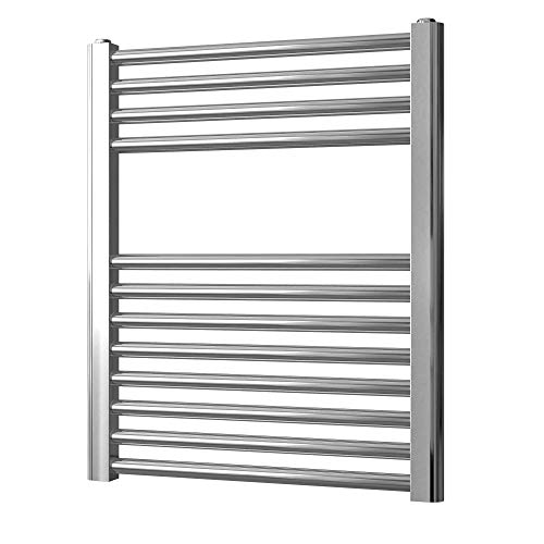 Greened House Chrome Straight Electric Heated Towel Rail 500mm wide x 600mm...