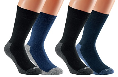 Vitasox 31032 Damen Herren Socken mit Frotteesohle Herrensocken Sportsocken Funktionssocken Baumwolle 4er Pack 2xschwarz-marine 2xschwarz-jeans 47/50