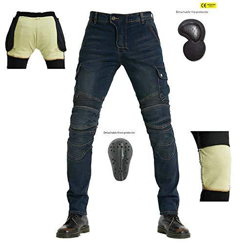 TIUTIU Vaqueros Para Montar En Moto Para Hombres Con 4 Almohadillas Protectoras Extraíbles, Pantalones De Ciclismo Anticaídas Elásticos Kevlar, Pantalones De Carreras Profesionales (Blue,M)