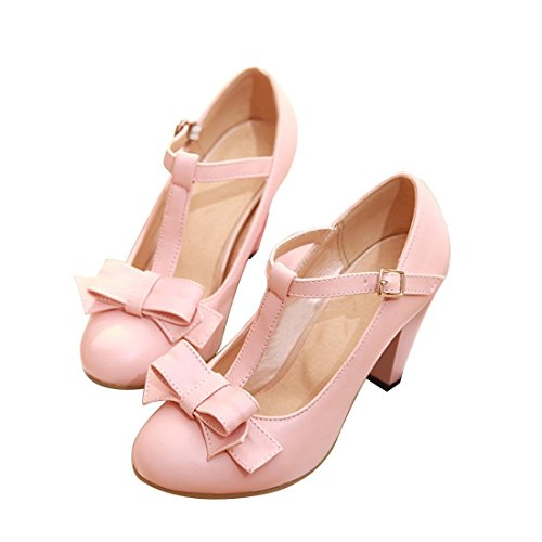 Susanny Women's Chic Sweet Round Toe T-Strap Bows Adorable Buckle High Cone Heel Mary Janes Dress Pink Pumps 10 B(M) US