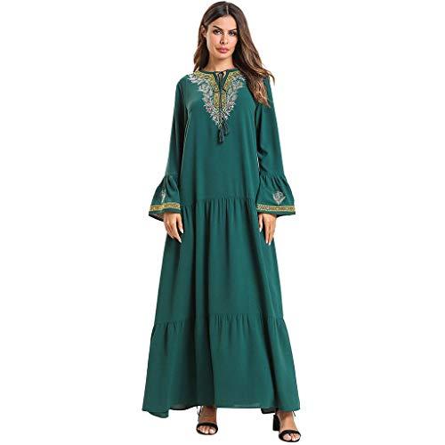 Lazzboy Dubai Stickerei Muslim Kleid Kaftan Abaya Jilbab Islam Ramadan Gown Robes Damen Maxikleid Strandkleider Türkischer Stil Boho Strandponcho Lose Maxi Tunika Lange...