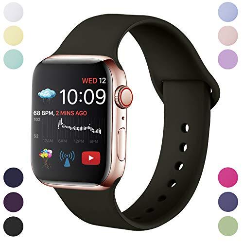 Hamily Correa Compatible con Apple Watch 38mm 40mm, Correa de Repuesto de Silicona Suave para Apple Watch Series 5/4/3/2/1, S/M, Negro