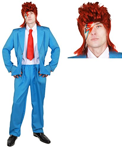 Déguisement du plus célèbre chanteur pop rock aux yeux de différentes couleurs avec une veste bleue + un pantalon assorti + une cravate rouge + une perruque pour adulte. Idéal pour les enterrements de vie de garçon. ( Medium )