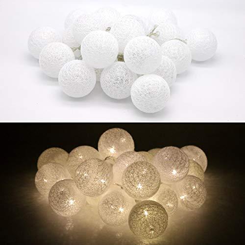 Tronje LED 20 Bolas de Algodón Luces 6cm 4h Temporizador 3,8m Guirnalda de luz Blanca cálida funciona con Pilas