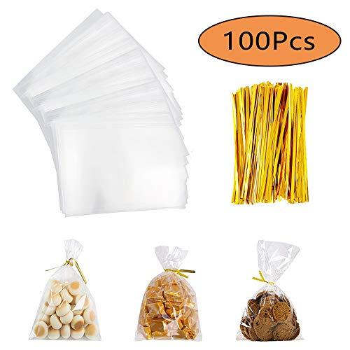 Integrity.1 Geschenktüte für Bonbons,100 Stück Transparente Bonbontüte, Klare Flache Cellophan Tasche, mit Bindebändern, für Backwaren, Popcorn, Kekse, Bonbons, Dessert (20x20cm)