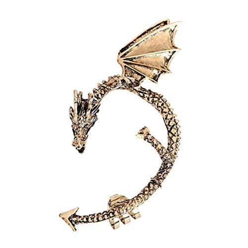 One Pack Antique Dragon Ear Cuffs Flying Winged Dragon Style Cartilage Wrap Non Pierced Left Ear Earring Silver Women Beauty