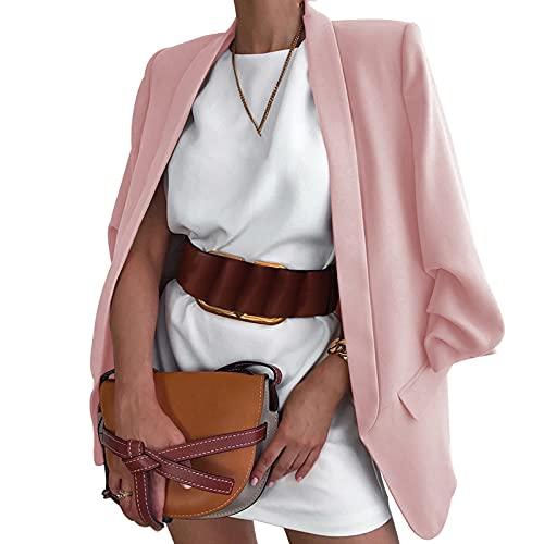 Chollius Chaqueta de negocios para mujer, de manga larga, estilo blazer, para otoño/primaveral, chaqueta formal para la oficina, talla grande, S-3XL, Rosa, XXX-Large