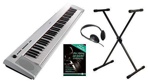Yamaha Piaggero NP-32 Portable Piano Set (76 anschlagdynamische Tasten, 10 Top-Sounds, Record-Funktion, inkl. Keyboardständer, Kopfhörer und Klavierschule, USB, Batteriebetrieb möglich) weiss