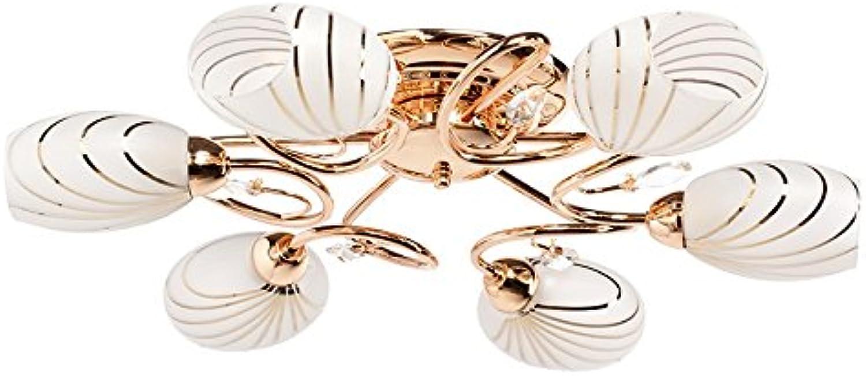 MW-Light 267012106 Elegante Deckenleuchte Modern Goldfarbiges Metall Mattweies Glas Kristall Klar 6 Flammig Grelles Direktes Licht Wohnzimmer Schlafzimmer Flur Küche 6 x 60W E14