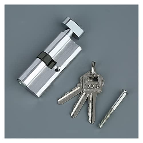 Bombin Cerradura Cilindro de la puerta de la puerta del metal de aluminio de 70 mm Cilindro de seguridad para el hogar anti-taladro anti-taladro con 3 llaves de tono de plata herramientas Cerradura Pu
