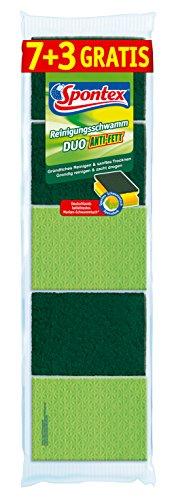 Spontex Reinigungsschwamm Duo Anti-Fett 7+3, Topfreiniger mit Trockenseite, Farbe nicht frei wählbar, grün/pink, 1 x 10 Stück