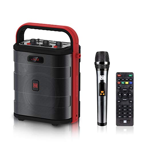 WSHDZ Portable 50W TWS PA System Power Handheld Microphone Karaoke Machine Bluetooth Speaker J8 with Remote Control, Recording Function,Aux, TF/SD Card& LED Display for Meeting,Street Live