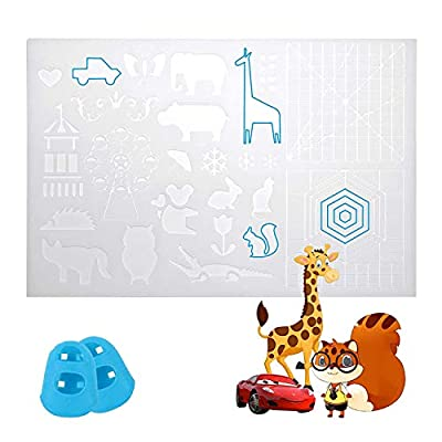 UENTIP 3D Printing Pen Silicone Design Mat with Basic Template and Patterns 3D Pen Drawing Pad with 2 Silicone Finger Caps (Transparent)