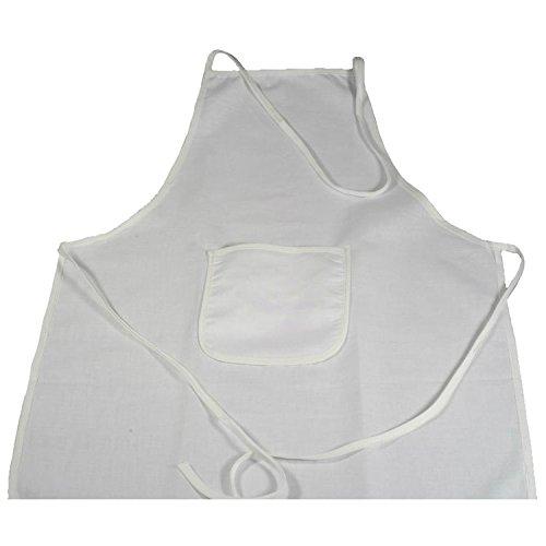 Piccolino Bastelbedarf Mal-Kittel, Kinderschürze weiß 64x49cm mit Tasche - aus Baumwolle blanko zum Bemalen und Bedrucken
