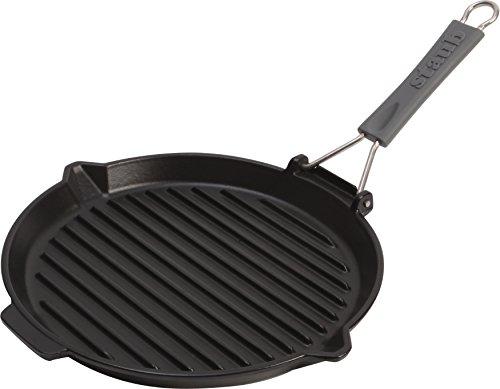 Staub 1202023 grillpan rond met siliconen handvat 27 cm, met matzwart geëmailleerd binnenin de pan, zwart