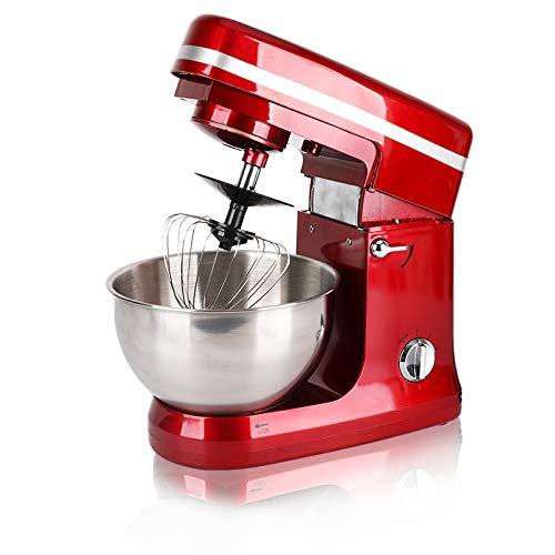 YKZC 卓上ミキサー 5L 3種攪拌フック 1000W 業務用 家庭用 泡立て お菓子 ケーキ パンこね 混ぜ スタンドミキサー KALE (5L赤)