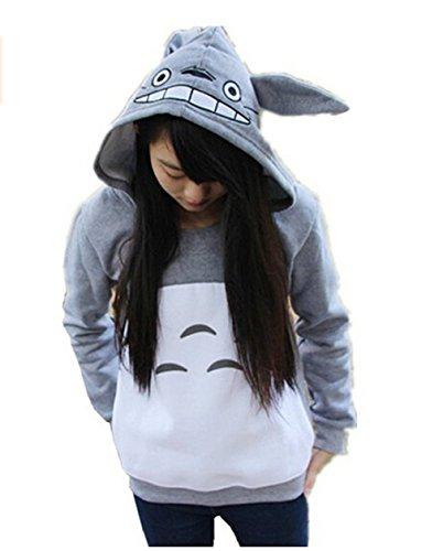 Unisex Anime Mein Nachbar Totoro Sweatshirt Top Freizeit Pullover Damen Männer (Grau#2) Gr. XL