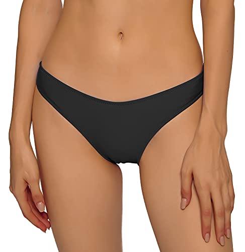 YgneeDom Women's Cheeky Bikini Bottoms Hipster High Cut Swimsuit Bottoms(Black,3XL)